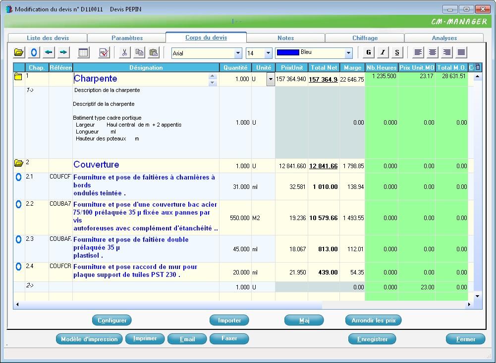 2c fao logiciels gestion commerciale devis achats planning production - Logiciel charpente metallique ...
